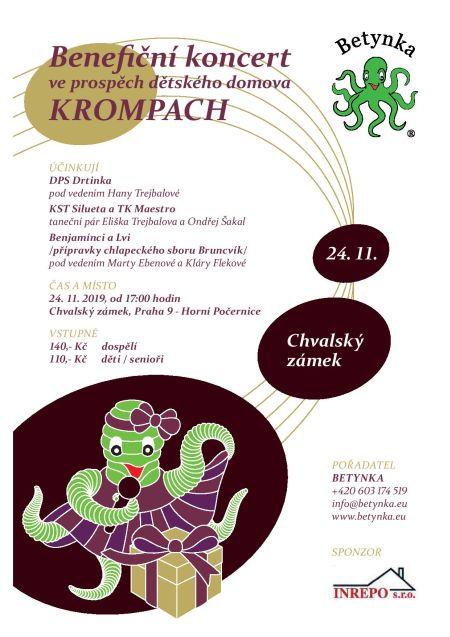 Plakát k akci Benefiční koncert pro dětský domov v Krompachu
