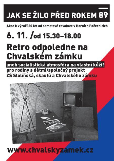 Plakát k akci Retro odpoledne na Chvalském zámkuj