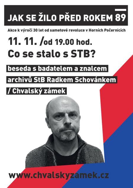 Plakát k besedě s Radkem Schovánkem na téma Co se stalo s StB?