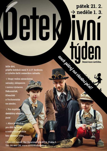 Plakát k akci Detektivní týden na zámku aneb pátrej na vlastní pěst!