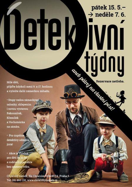 Plakát k akci Detektivní týdny na zámku aneb pátrej na vlastní pěst!