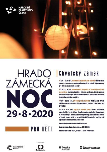 Plakát k akci Hradozámecká noc 2020 pro děti na Chvalském zámku