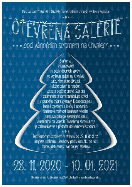 Plakát k venkovní výstavě OTEVŘENÁ GALERIE pod vánočním stromem na Chvalech