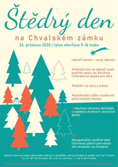 Plakát k akci Štědrý den na Chvalském zámku