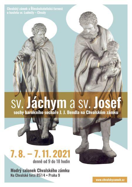 Plakát k výstavě: Sv. Josef a sv. Jáchym - sochy barokního sochaře J. J. Bendla na Chvalském zámku